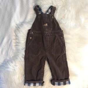 Chocolate Brown Corduroy Overalls w/ Walrus 18M